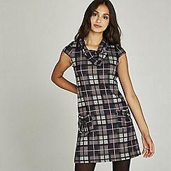Apricot - Purple check print two pocket tunic dress
