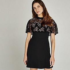 Apricot - Black lace ruffle shoulder cape dress