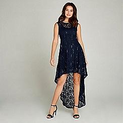 Apricot - Navy sequin lace dip hem party dress