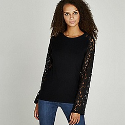 Apricot - Black lace sleeve ribbed jumper