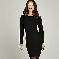 Apricot - Black bardot bodycon knit dress