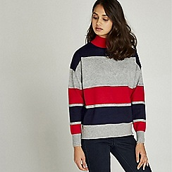 Apricot - Red high neck colour block jumper