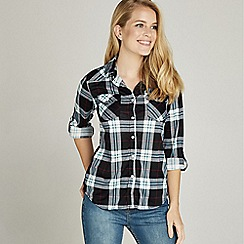 Apricot - Blue snap button two pocket check shirt