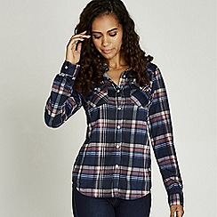 Apricot - Red plaid jersey two pocket shirt