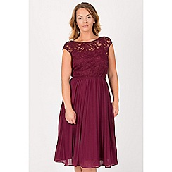 Jolie Moi - Maroon lace bodice pleated prom dress