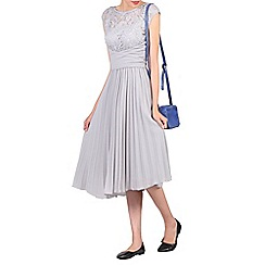 Jolie Moi - Grey lace bodice pleated prom dress