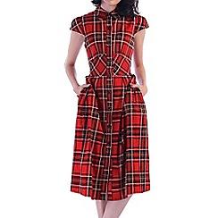 Jolie Moi - Red retro print 1940s shirt dress