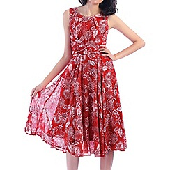 Jolie Moi - Red printed fit & flare dress