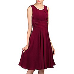 Jolie Moi - Maroon wrap belted fit & flare dress