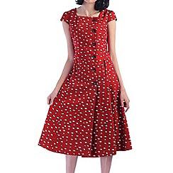 Jolie Moi - Red button front cap sleeve shirt dress