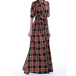 Jolie Moi - Green checked maxi shirt dress