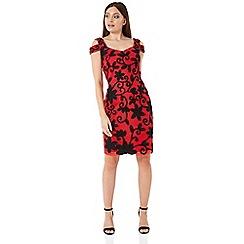 Roman Originals - Red embroidered cold shoulder floral dress