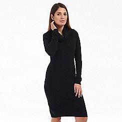 Solo - Black roll neck knit dress