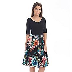 Solo - Black contrast print dress