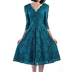 Jolie Moi - Turquoise 3/4 sleeved lace prom dress