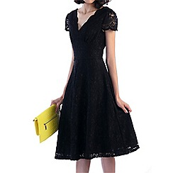Jolie Moi - Black cap sleeve scalloped lace dress