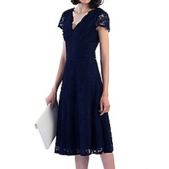 Jolie Moi - Navy cap sleeve scalloped lace dress