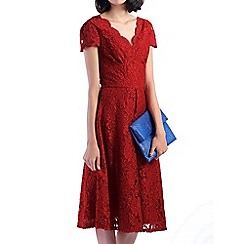 Jolie Moi - Red cap sleeve scalloped lace dress