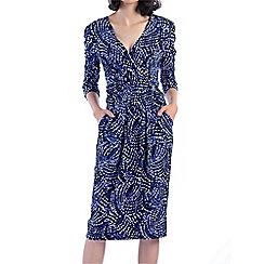 Jolie Moi - Blue wrap front midi dress