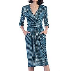 Jolie Moi - Turquoise wrap front midi dress