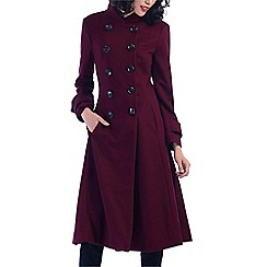 Jolie Moi - Dark red double breasted flare coat