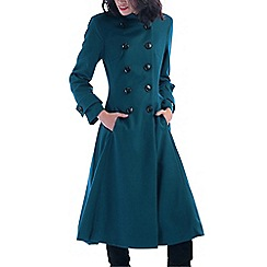 Jolie Moi - Turquoise double breasted flare coat