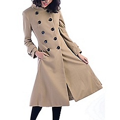 Jolie Moi - Camel double breasted flare coat