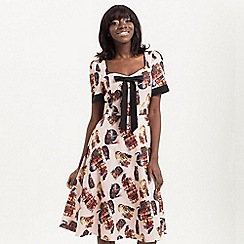 Voodoo Vixen - Beige abigail cat library print tea dress