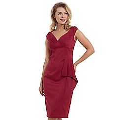 Voodoo Vixen - Maroon khloe ruffle pencil dress