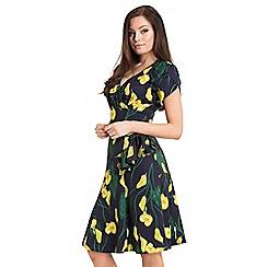 Voodoo Vixen - Navy flora calla lily 40s style dress