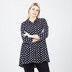 Izabel London Curve - Navy polka dot shirt top