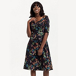 Voodoo Vixen - Black grace floral bardot dress