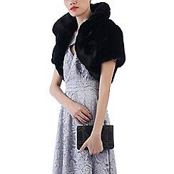 Jolie Moi - Black collared faux fur shrug