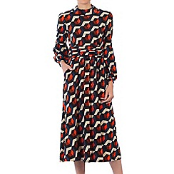 Jolie Moi - Orange printed turtleneck midi dress