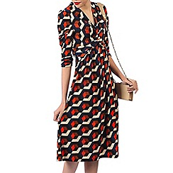 Jolie Moi - Navy printed crossover front dress