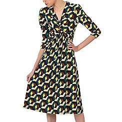 Jolie Moi - Multicoloured printed crossover front dress