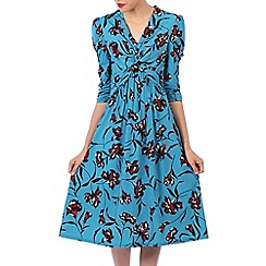 Jolie Moi - Turquoise printed crossover front dress