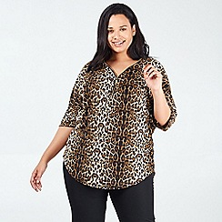 Blue Vanilla - Tan Leopard Print Soft Touch Zip Front Top