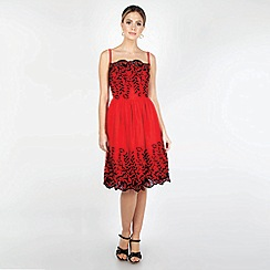 Voodoo Vixen - Red Scarlett Embroidered Dress