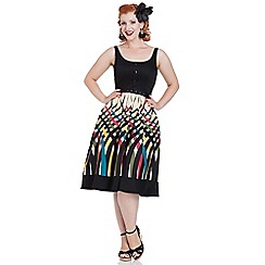 Voodoo Vixen - Jean Boarder Print Flared Dress