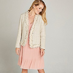 Apricot - Cream Check Lurex Print Jacket