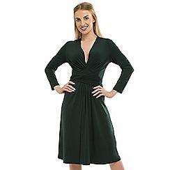 Anna Field - Dark Green V-Neck Wrap Dress