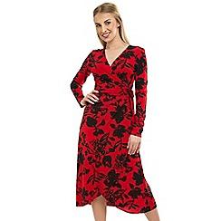 Anna Field - Red Wrap Floral Midi Dress
