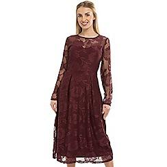 Anna Field - Wine Lace Sweetheart Midi Dress