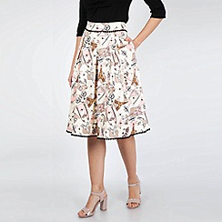 Voodoo Vixen - Cream Marienne Parisian Print Skirt