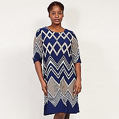 Izabel London Curve - Navy Printed Tunic Dress