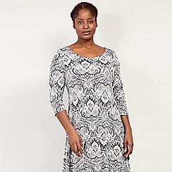 Izabel London Curve - Beige Paisley Print Midi Dress