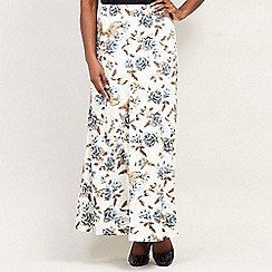 Izabel London Curve - White Printed Maxi Skirt