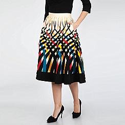 Voodoo Vixen - Cream Emma Border Print Swing Skirt
