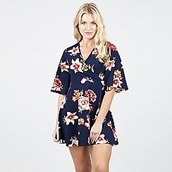Izabel London - Navy Floral Print Tunic Dress